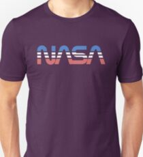 NASA Worm Retro Blue-Red-White Unisex T-Shirt