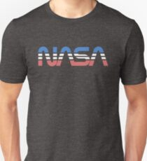 NASA-Wurm Retro Blau-Rot-Weiß Slim Fit T-Shirt