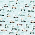 Bunny Race - retro racing pattern by Ewa Brzozowska
