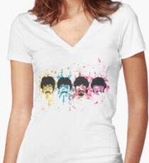 Watercolor Sgt. Pepper's Design Women's Fitted V-Neck T-Shirt
