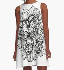 floral design flower illustration pion pattern A-Line Dress