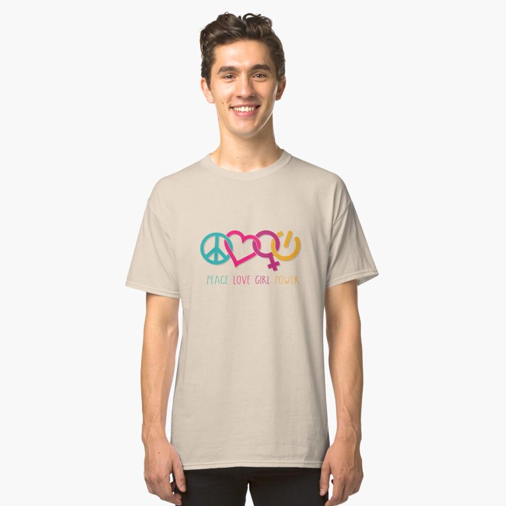 Peace Love Girl Power Symbol Multicolor Classic T-Shirt