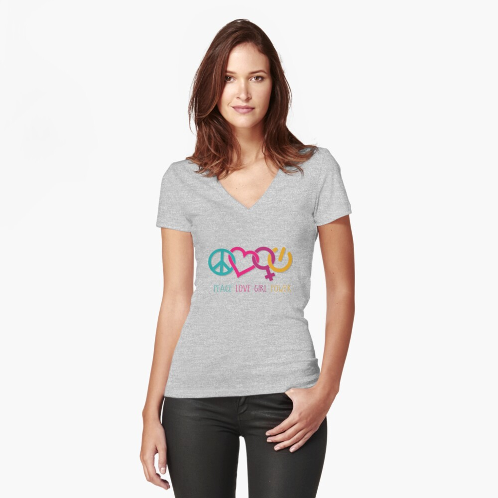 Peace Love Girl Power Symbol Multicolor Fitted V-Neck T-Shirt