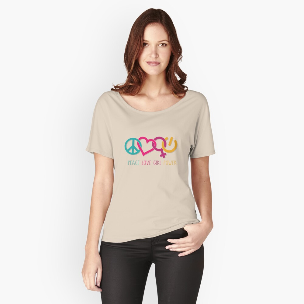 Peace Love Girl Power Symbol Multicolor Relaxed Fit T-Shirt