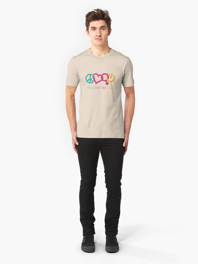 Alternate view of Peace Love Girl Power Symbol Multicolor Slim Fit T-Shirt