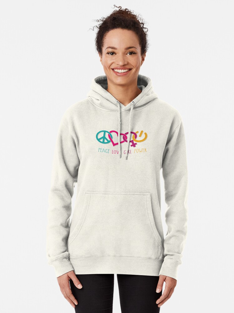 Alternate view of Peace Love Girl Power Symbol Multicolor Pullover Hoodie