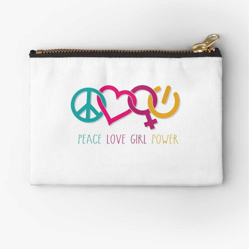 Peace Love Girl Power Symbol Multicolor Zipper Pouch
