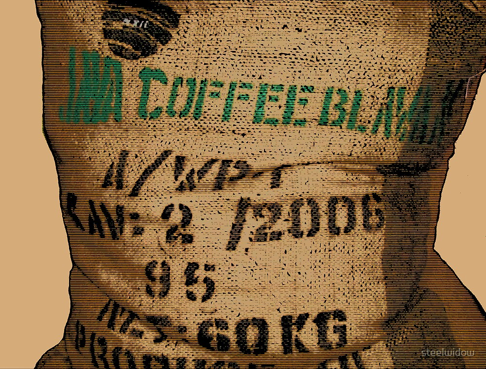 Comic Abstract Large Bag of Coffee Beans by steelwidow
