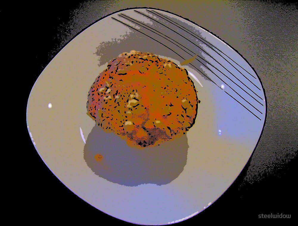 Comic Abstract Muffin on Plate by steelwidow