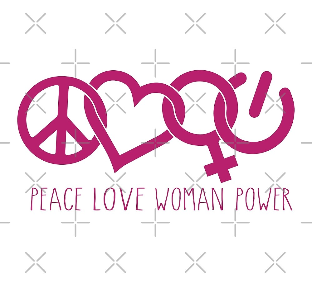 Peace Love Woman Power Symbol In Pink By Jitterfly Redbubble