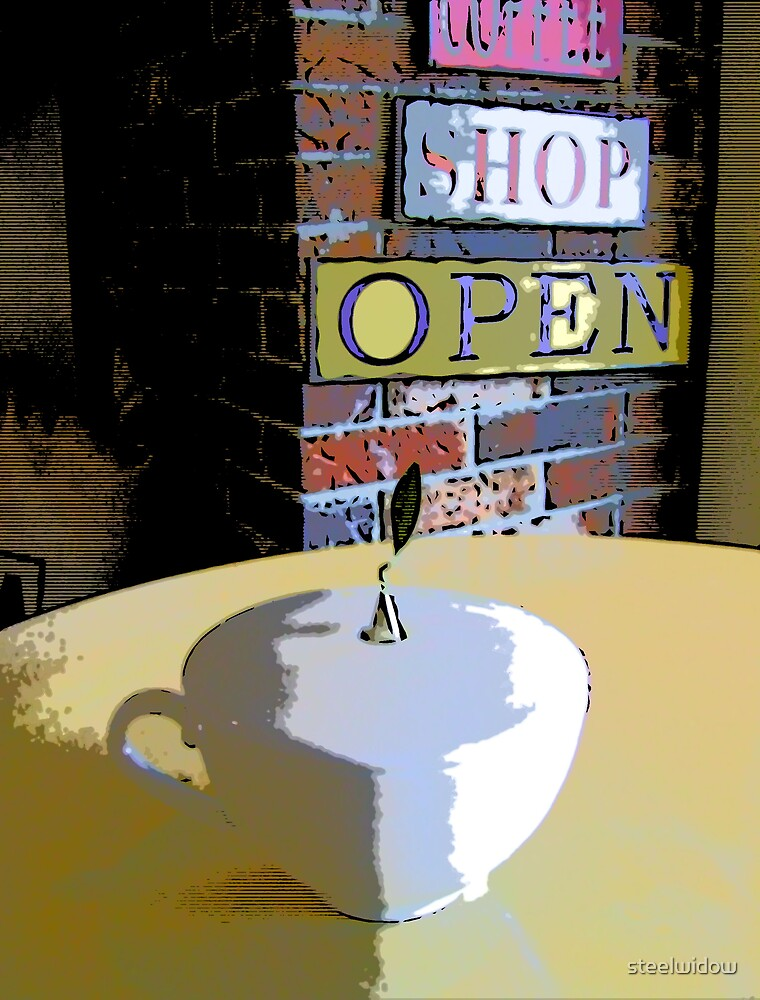 Comic Abstract Coffee Shop Tea Cup by steelwidow