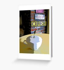 Comic Abstract Coffee Shop Tea Cup Greeting Card