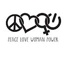 Peace Love Woman Power Symbol in Black with words by jitterfly