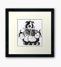 Border Collie and sheep Framed Print