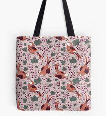 Vintage Style Bird Berries Pattern.  Tote Bag