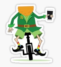 Leprechaun Unicycle with Beer Sticker
