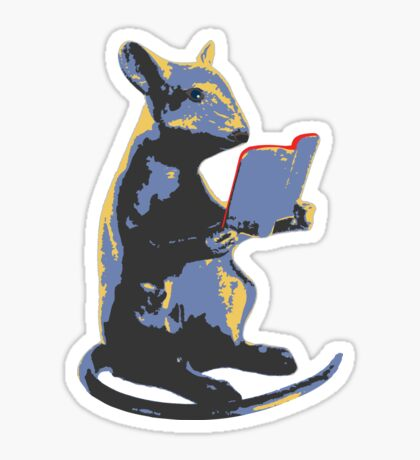 Book Mouse - blue Sticker