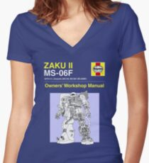 Gundam - Zaku ii - Owner's Manual Women's Fitted V-Neck T-Shirt