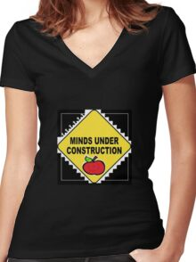 Minds Under Construction Women's Fitted V-Neck T-Shirt