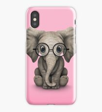 Cute Baby Elephant Calf with Reading Glasses on Pink iPhone Case/Skin