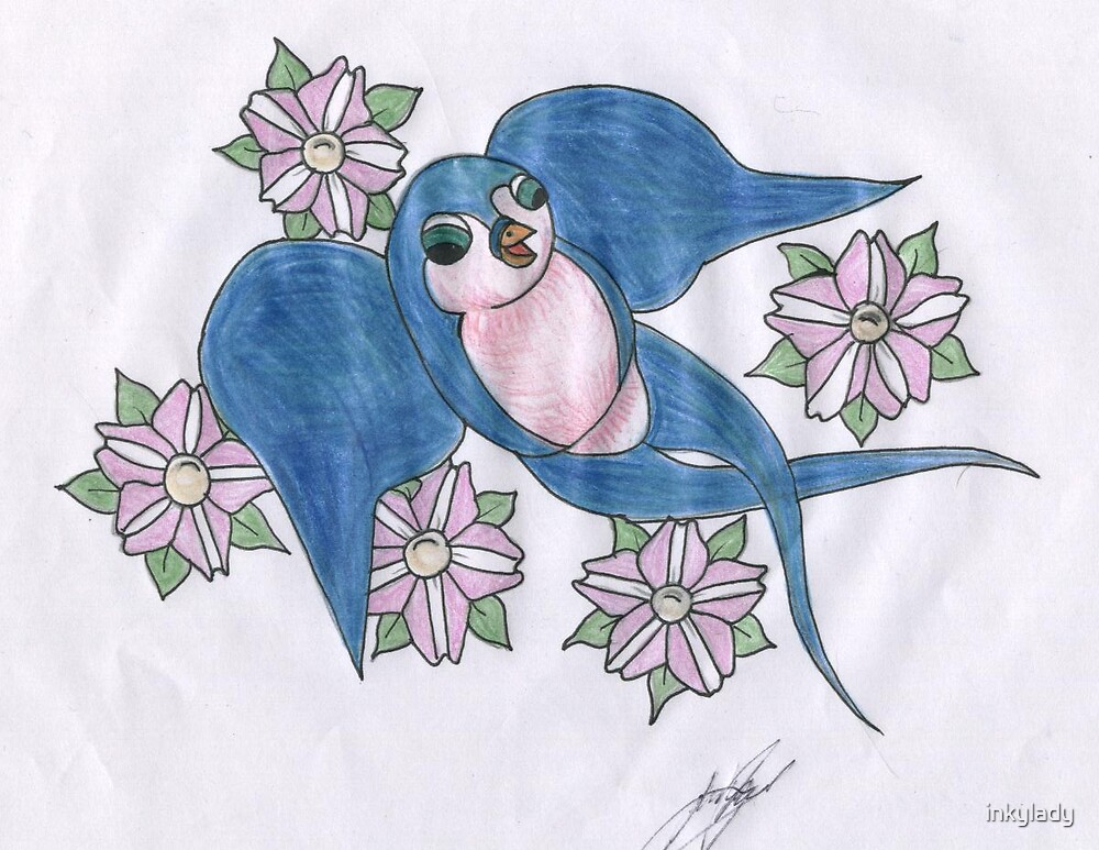 swallow with blossoms  by inkylady