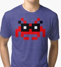 Hipster Space Invader Tri-blend T-Shirt