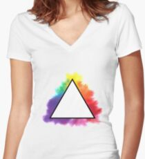 Rainbow Triangle Women's Fitted V-Neck T-Shirt