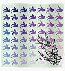 Green Birds Poster