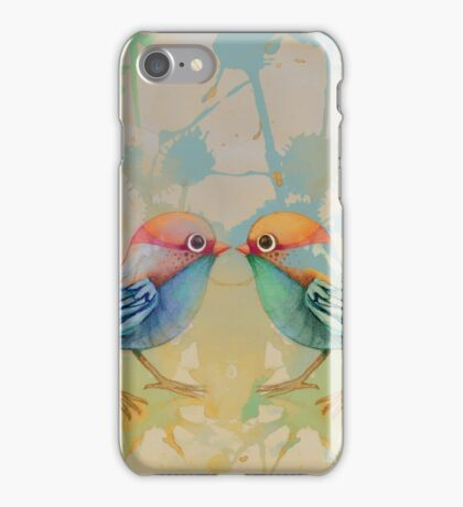 little love birds blue iPhone Case/Skin