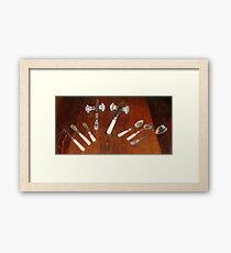 Silver Tableware and cut glass knife rests Framed Print