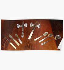 Silver Tableware and cut glass knife rests Poster