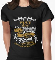 I am a May Girl I was born with my heart on my sleeve Womens Fitted T-Shirt