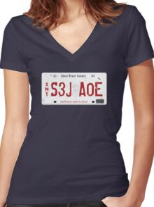 Nicole Haught's License Plate Women's Fitted V-Neck T-Shirt