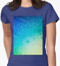 Blurred Green Blue Background With Flowers Womens Fitted T-Shirt