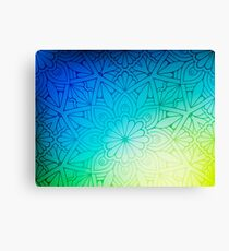 Blurred Green Blue Background With Flowers Canvas Print