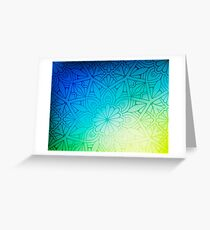 Blurred Green Blue Background With Flowers Greeting Card