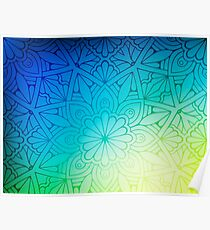 Blurred Green Blue Background With Flowers Poster