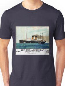 Ireland Holyhead Restored Vintage Travel Poster Unisex T-Shirt