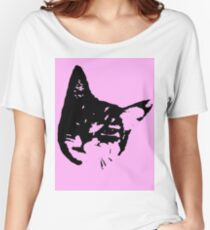 Pink Kitty Head Women's Relaxed Fit T-Shirt