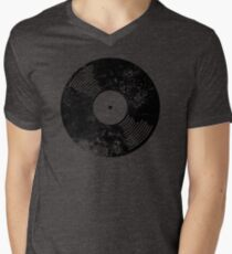 Distressed Faded Vinyl Mens V-Neck T-Shirt