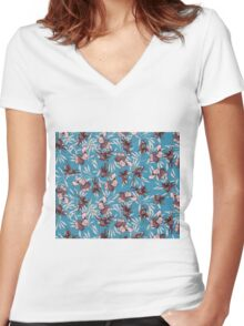 iris orchid japanese patter Women's Fitted V-Neck T-Shirt