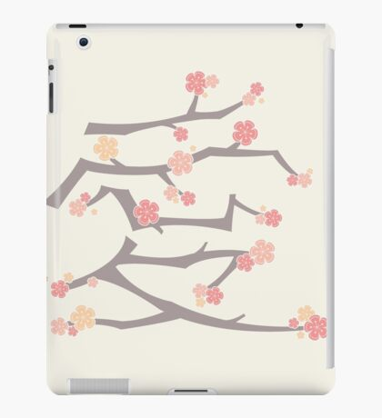 Chinese 'Ai' (Love) Calligraphy With Pink Cherry Blossoms On Brown Branches | Japanese Sakura Kanji iPad Case/Skin