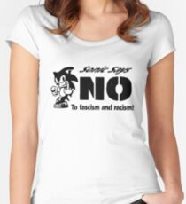 Sonic the Hedgehog - Sonic Says NO To fascism and racism! Women's Fitted Scoop T-Shirt