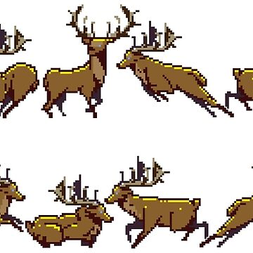 Pixel Stag (Pattern) by MonkeyKnot