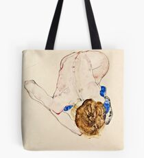 Egon Schiele - Nude With Blue Stockings, Bending Forward (1912) Tote Bag