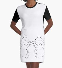black outline of two rabbits isolated on white Graphic T-Shirt Dress