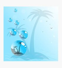 Beautiful seaside view poster blue background. Photographic Print