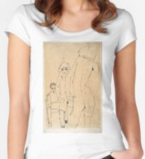 Egon Schiele - Schiele With Nude Model Before The Mirror, 1910 Women's Fitted Scoop T-Shirt