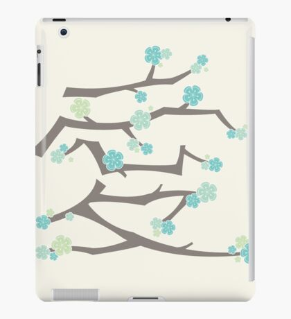 Chinese 'Ai' (Love) Aqua Blue Sakura Cherry Blossoms With Brown Branches | Japanese Sakura Kanji iPad Case/Skin