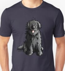 Black Newfoundland Dog Cartoon Unisex T-Shirt